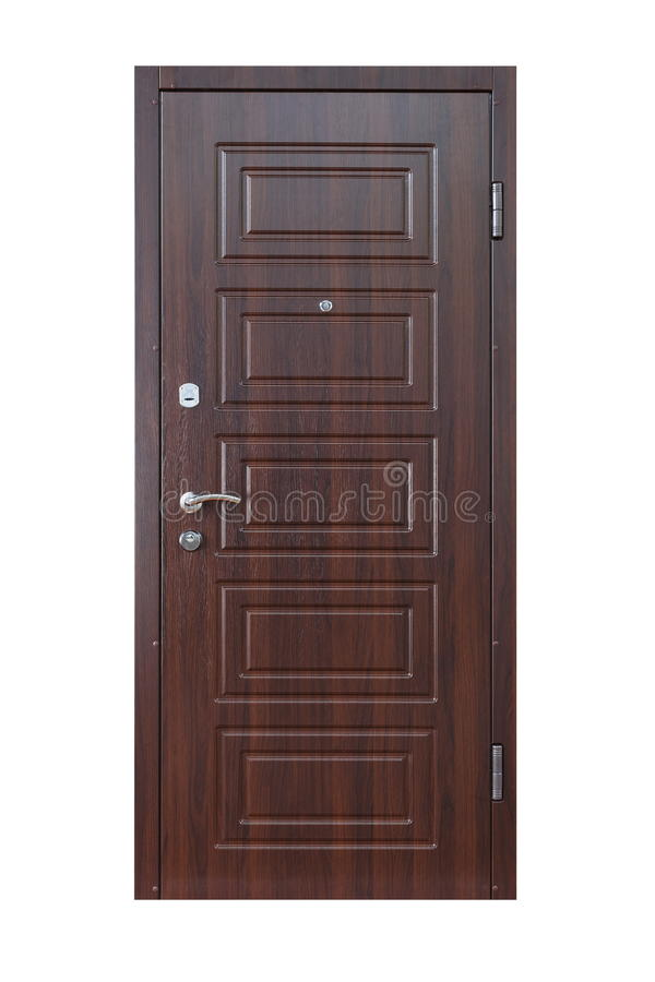 Brown wenge wooden closed door isolated on white stock photography