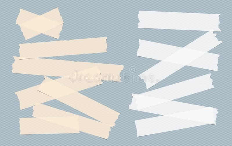 Brown and white adhesive, sticky, masking, duct tape, paper strips, pieces for text on blue squared background.  stock illustration