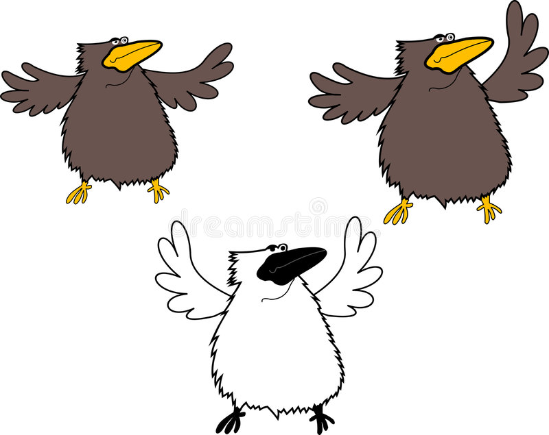 Download Brown And White Crows.Outsider Stock Illustration - Illustration: 2506839