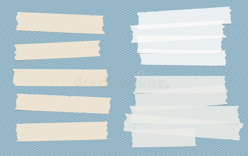 Brown and white different size adhesive, sticky, masking, duct tape, paper pieces on blue squared background. Brown and white different size adhesive, sticky stock illustration