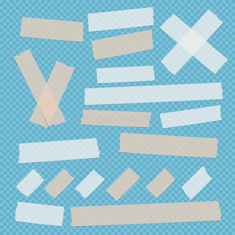 Brown and white different size adhesive, sticky, scotch tape, paper pieces on blue squared background. Brown and white different size adhesive, sticky, scotch stock illustration