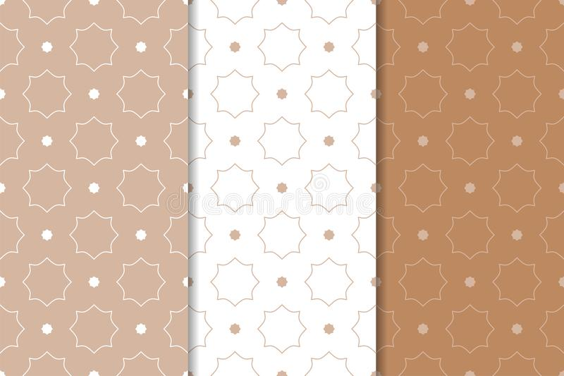 Brown and white geometric ornaments. Set of seamless patterns vector illustration