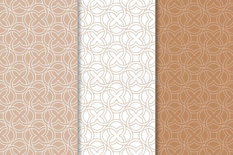 Brown and white geometric ornaments. Set of seamless patterns stock illustration