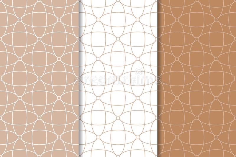 Brown and white geometric ornaments. Set of seamless patterns royalty free illustration