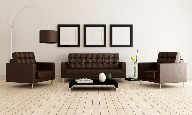 Brown and white living room stock image