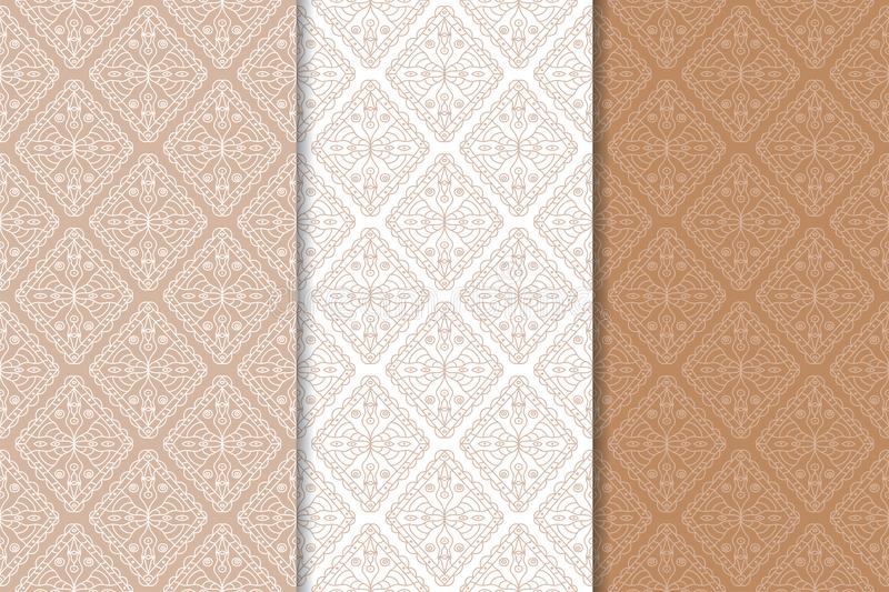 Brown and white set of geometric seamless patterns royalty free illustration