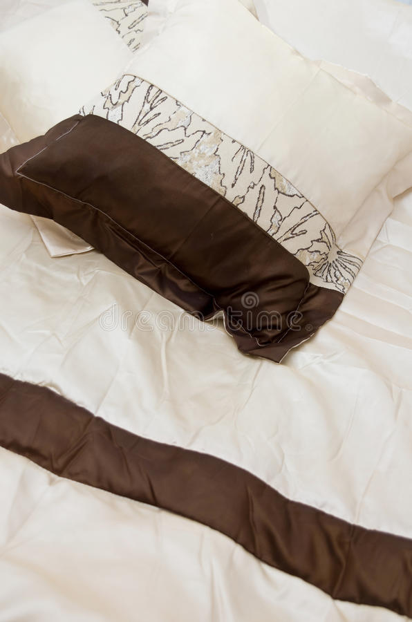 Brown And White Bed Linens Stock Photos