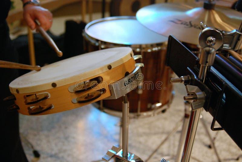 Brown and White Tambourine stock image