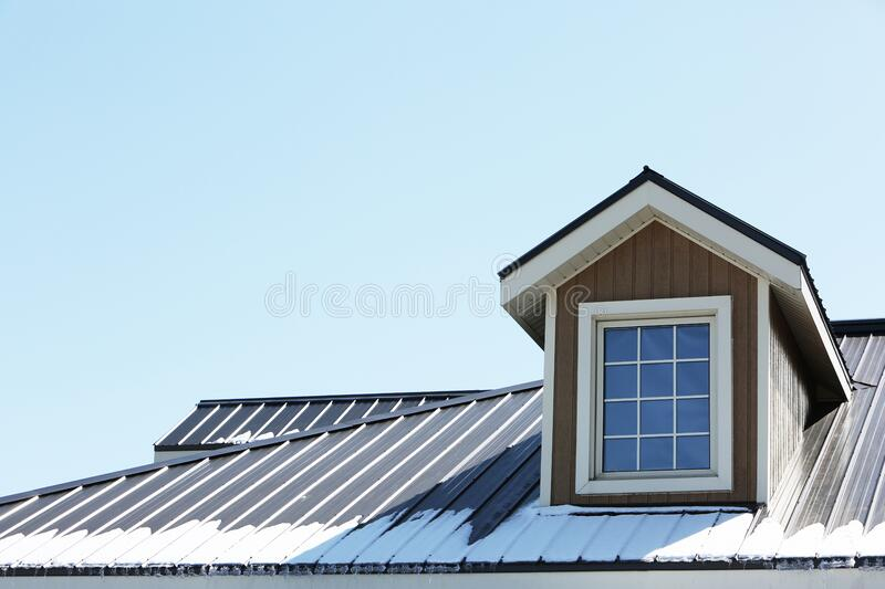 Brown and White Wooden Roof House Window stock photos