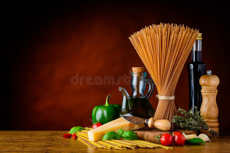 Brown Whole Wheat Spaghetti Pasta Copy Space stock images