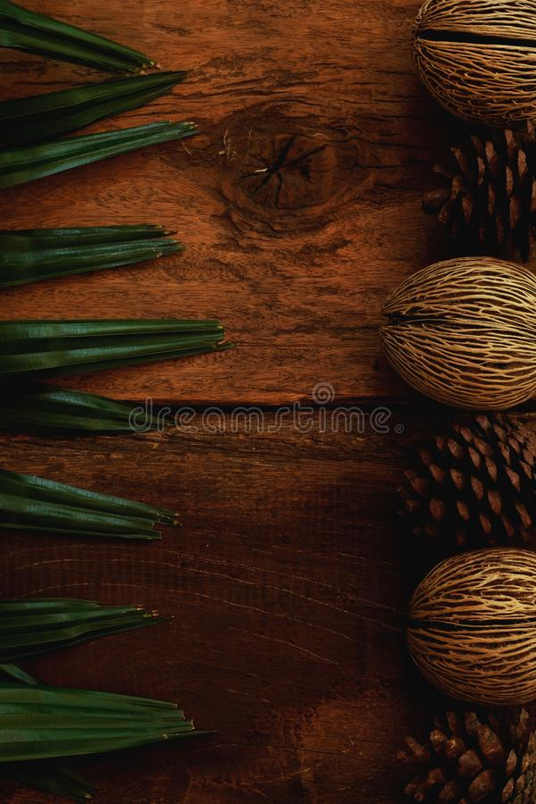 Brown wood board background decorated with tropical green leaf and pine cone, copy space, blank space for to do list stock photo