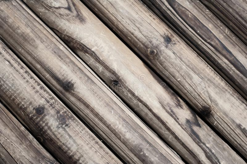 Brown wood texture background in diagonal. Vintage, abstract, empty template royalty free stock photography