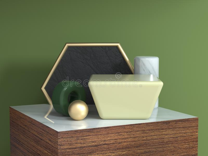 Wood table brown wood texture square podium abstract geometric shape still life set 3d rendering hexagon gold frame yellow square royalty free illustration