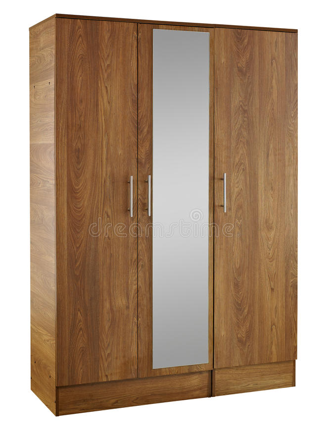 Brown wood wardrobe isolated on white background royalty free stock photography