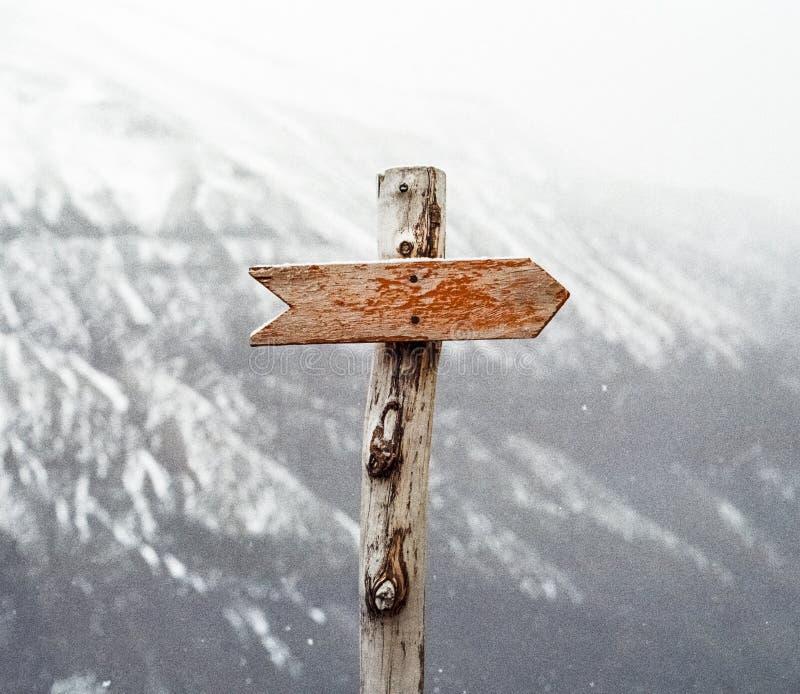 Brown Wooden Arrow ondertekend stock afbeelding