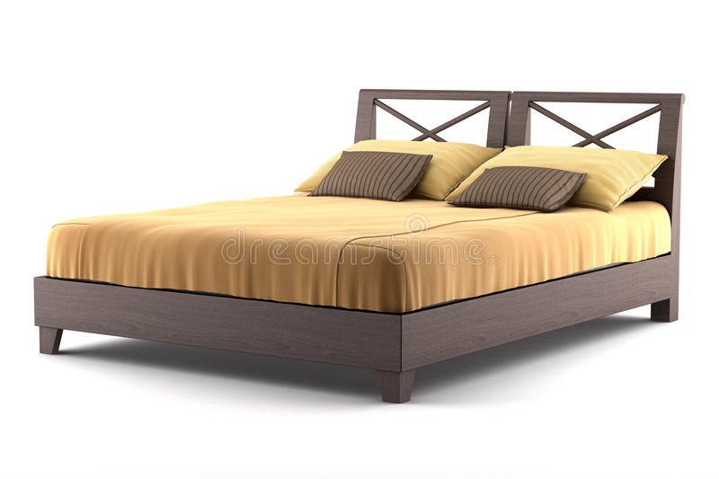 Brown wooden bed isolated on white royalty free stock photo