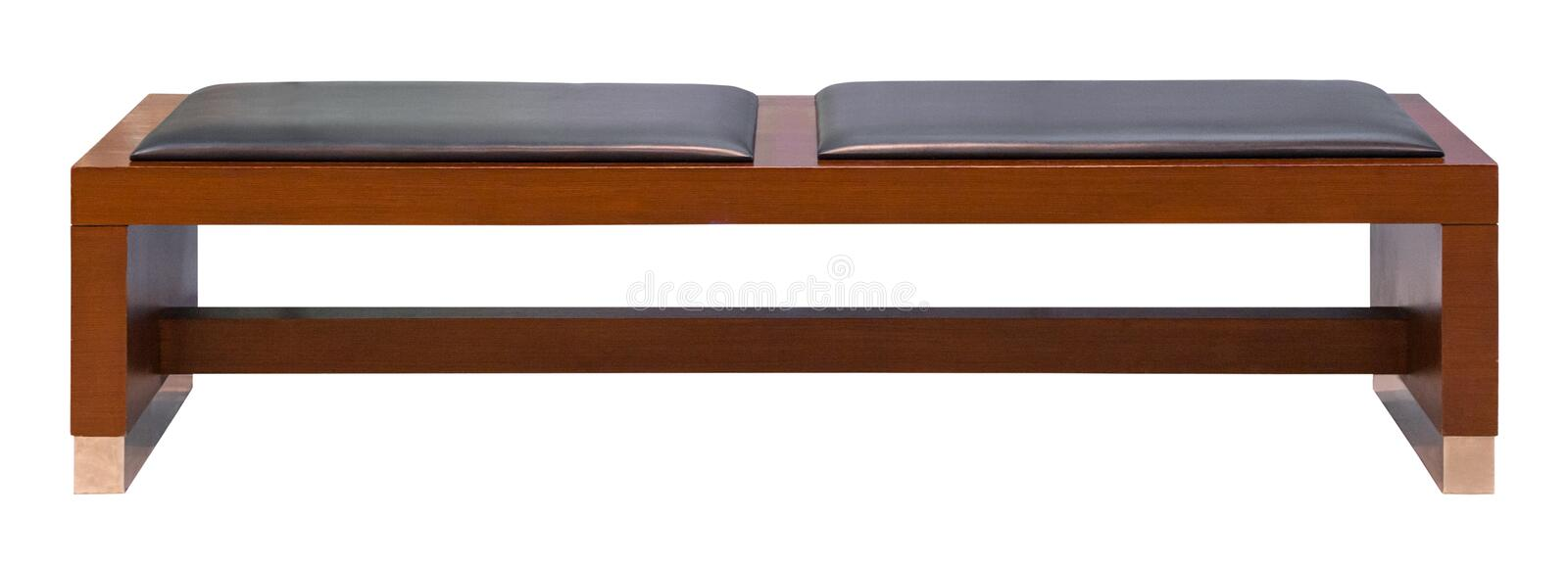 Brown wooden bench with two soft leather seats, isolated stock photo