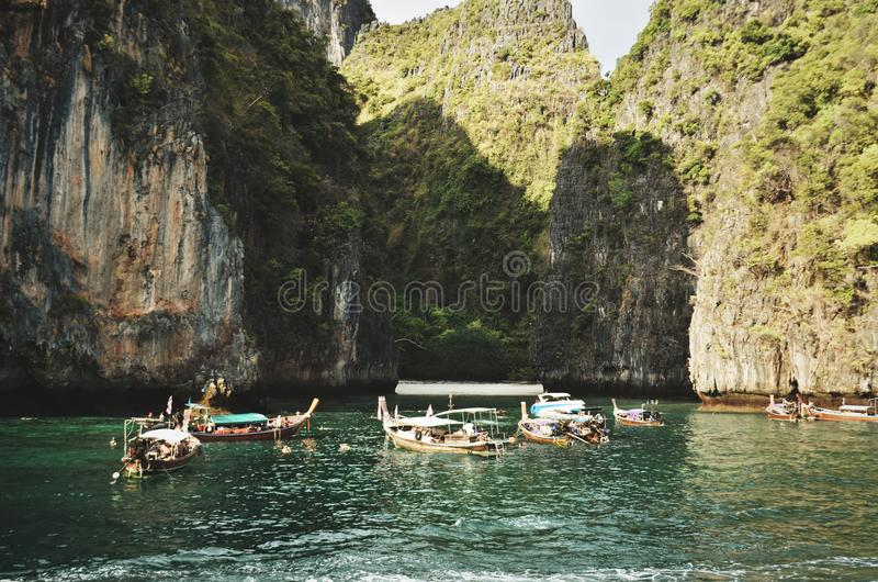 Brown Wooden Boats on River stock photo