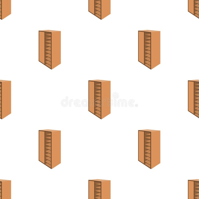 A brown wooden bookcase with many books on its shelves. Home library. Love reading. Large brown bookcase.Bedroom vector illustration