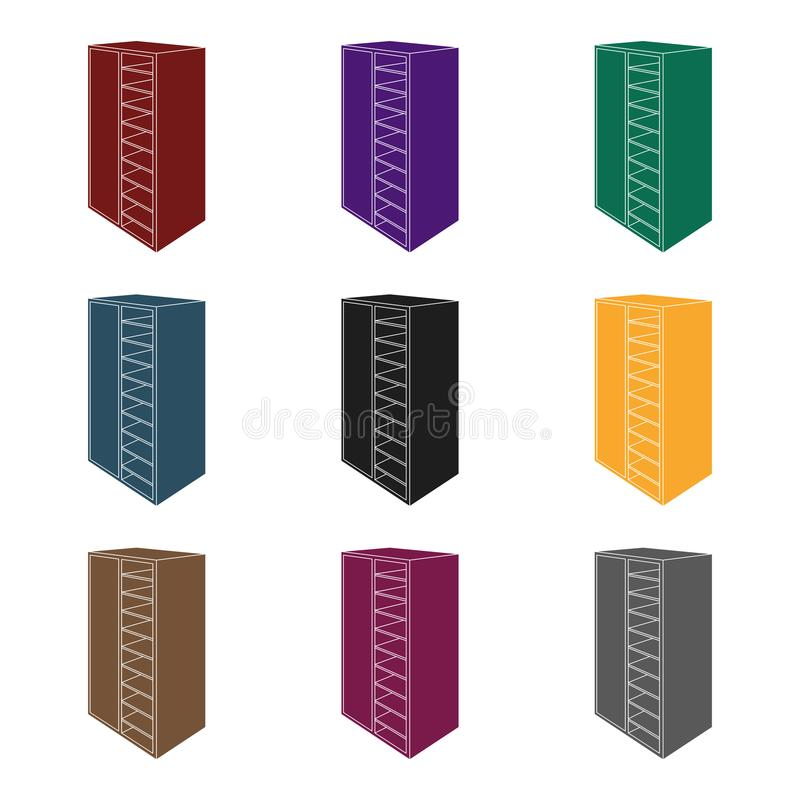 A brown wooden bookcase with many books on its shelves. Home library. Love reading. Large brown bookcase.Bedroom royalty free illustration