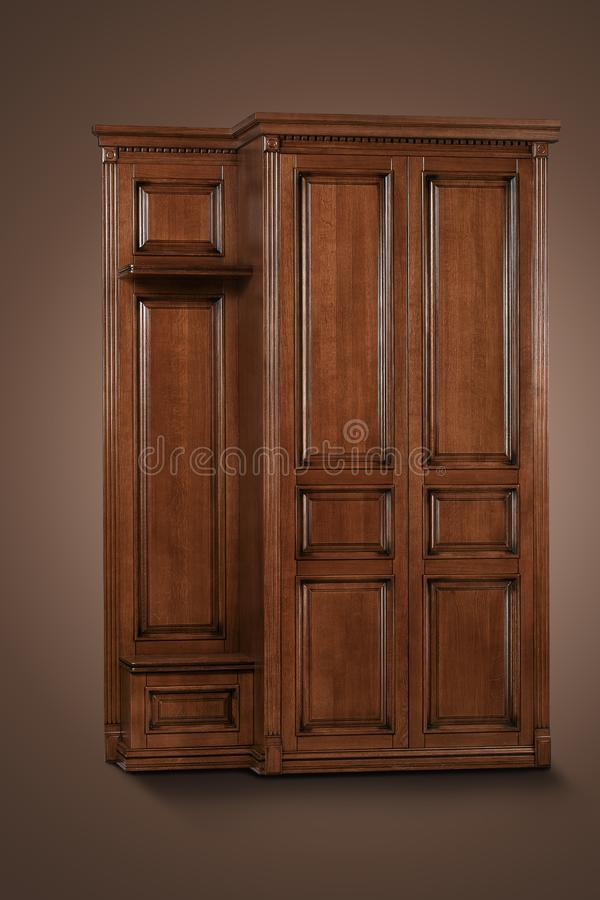 Brown wooden Cabinet on the brown background. Deployed a bit to the side royalty free stock images