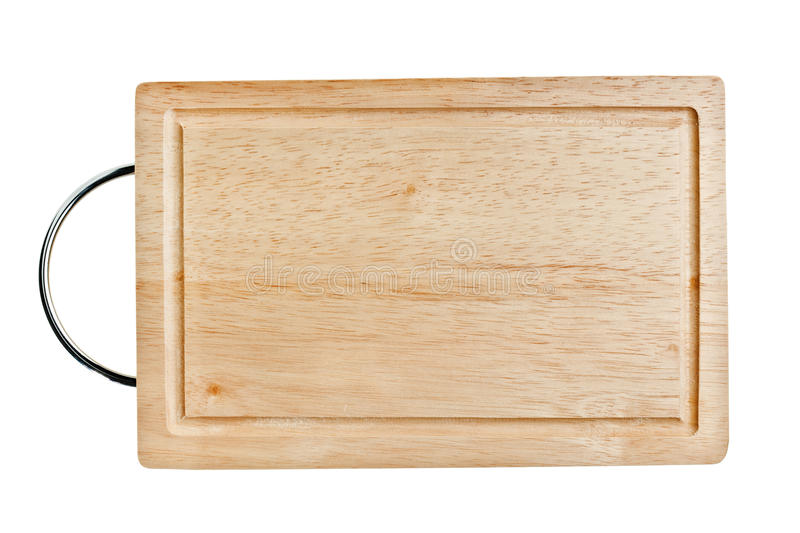 Brown wooden chopping board with metal handle stock images