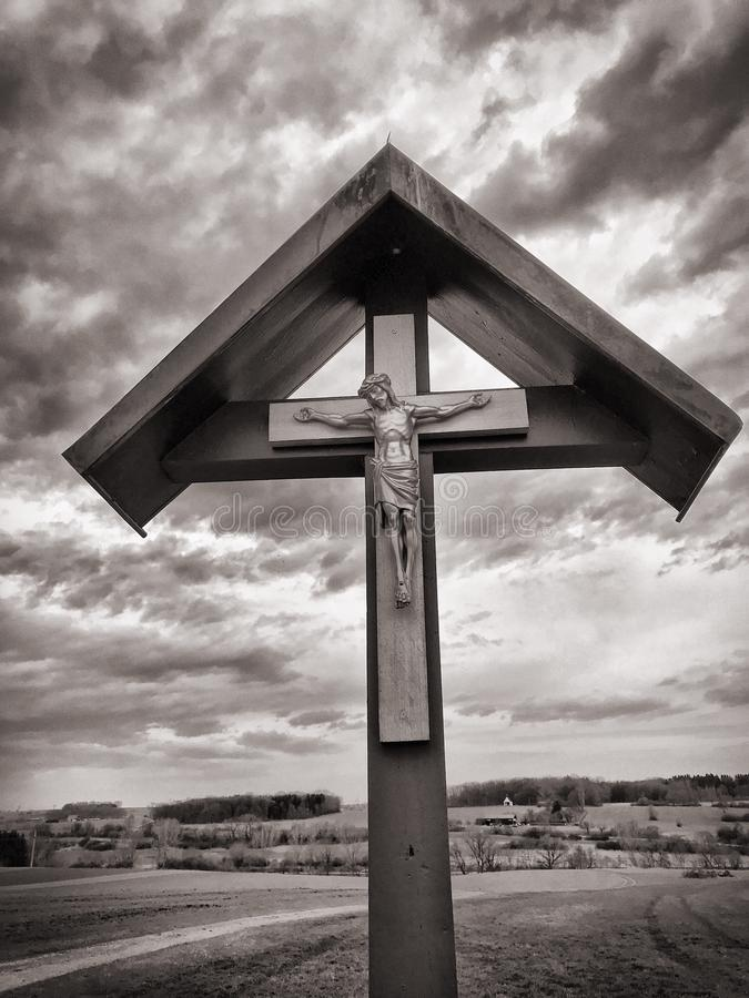 Brown Wooden Crucifix Photography stock photography