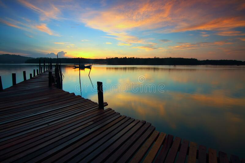 Brown Wooden Dock royalty free stock image