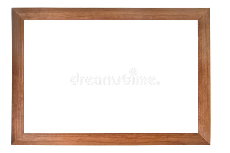 Brown wooden photo frame stock image
