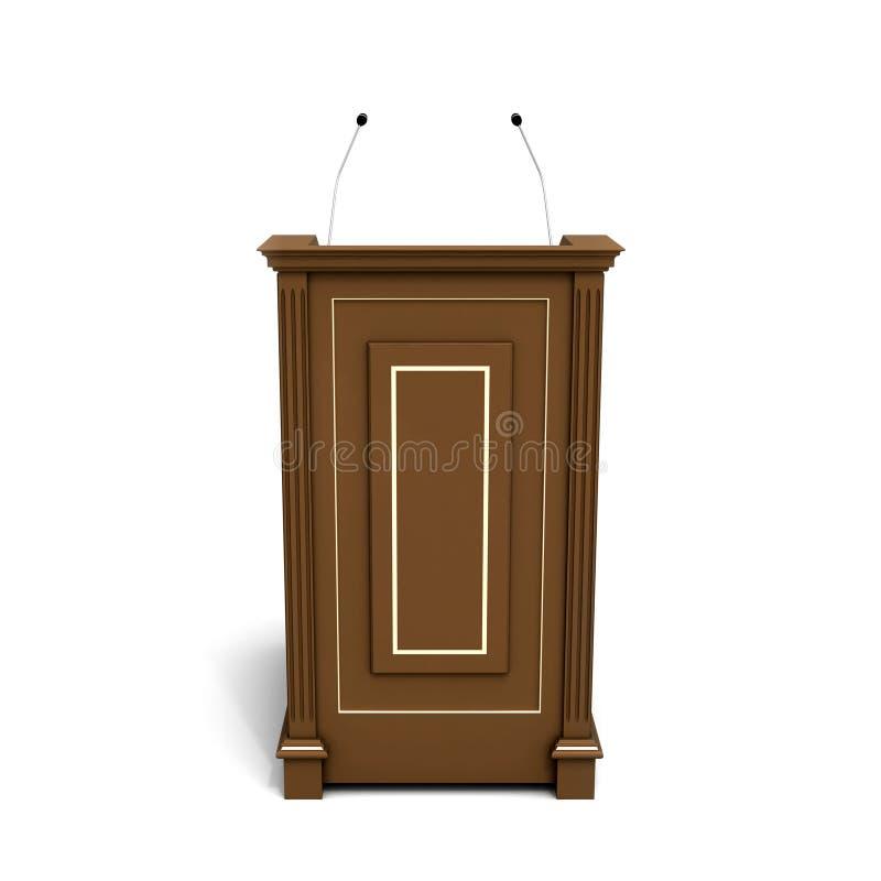 Brown wooden podium stock illustration