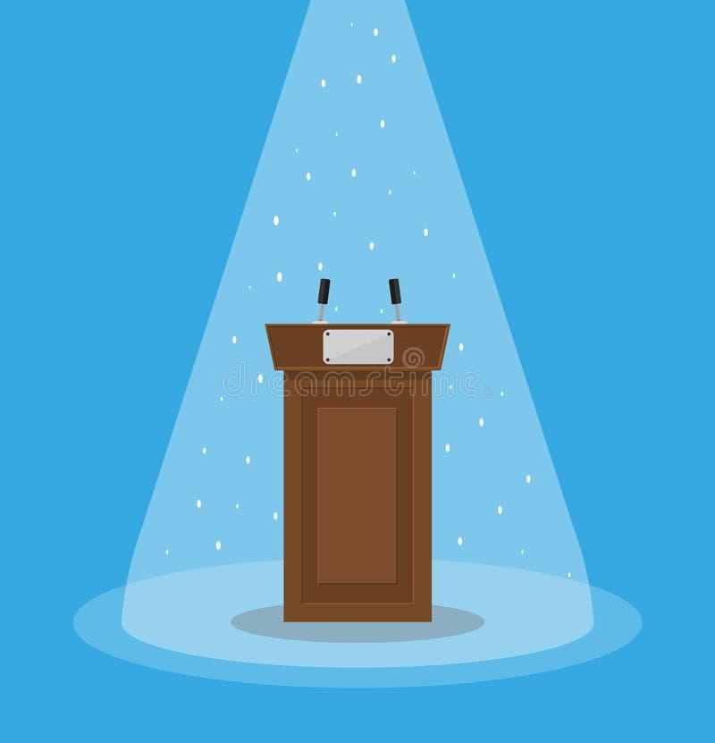 Brown wooden podium tribune rostrum stock illustration