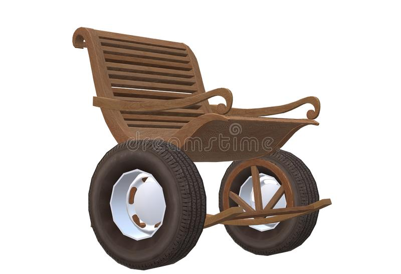 A brown wooden rocking chair mounted with rubber tyre wheels stock illustration