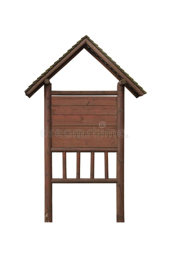 Brown wooden sign post with roof like house for information banner royalty free stock images