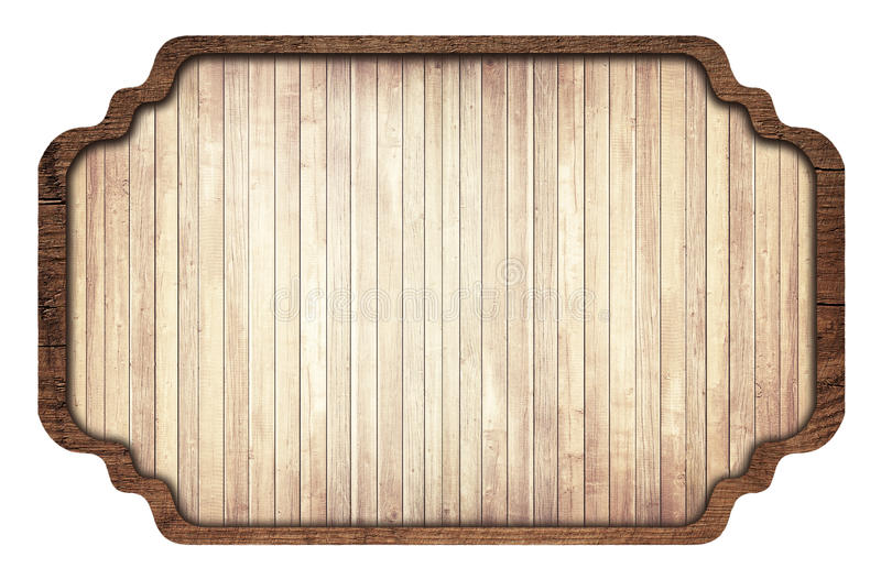 Brown wooden signboard, plate, planks and dark. Frame on white background royalty free stock photos