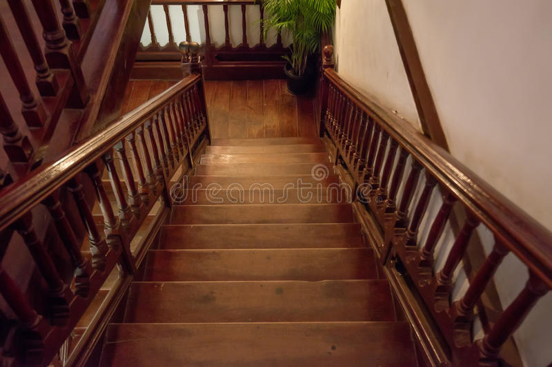 Brown wooden staircase royalty free stock photography
