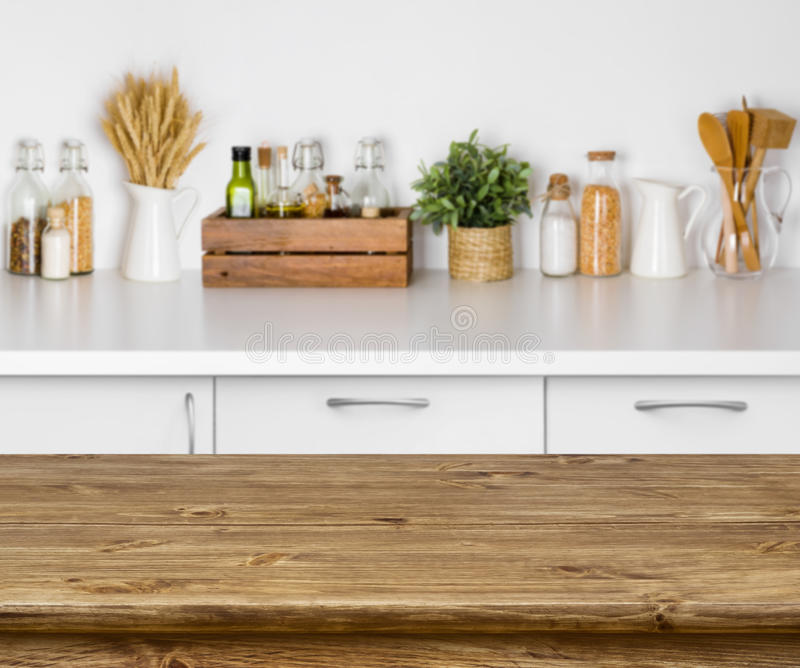 Download Brown Wooden Table With Bokeh Image Of Kitchen Bench Interior Stock Image - Image of dining, furniture: 84268791