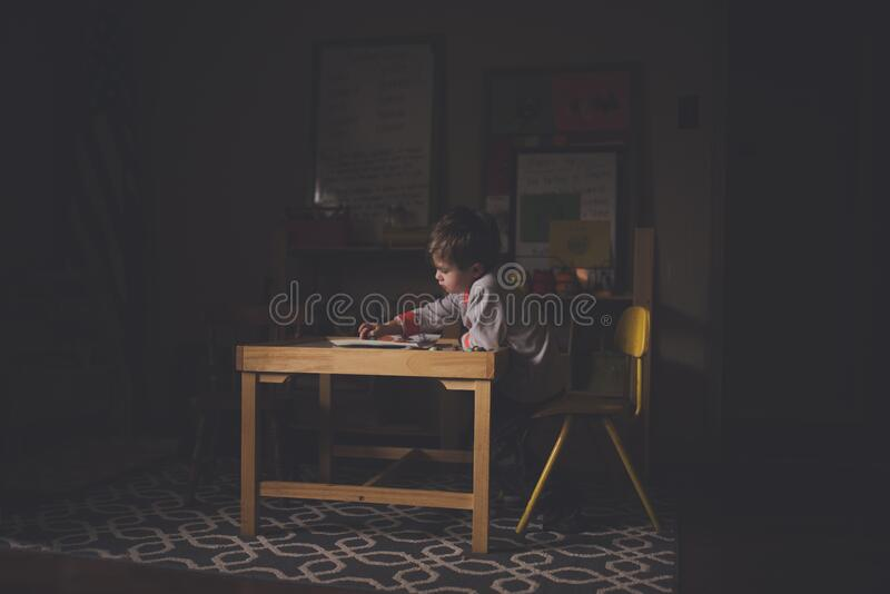 Brown Wooden Table Of A Child royalty free stock photos