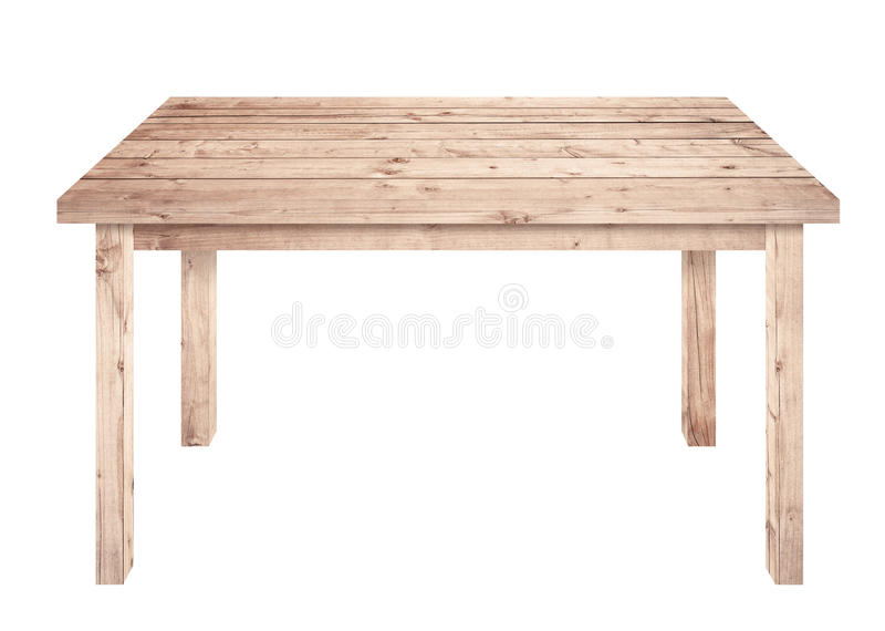Brown wooden table is isolated white background royalty free stock photos