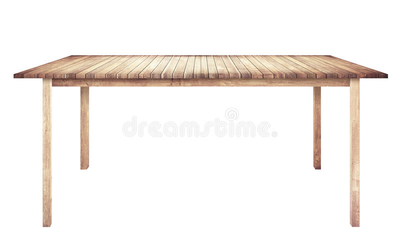 Brown wooden table is isolated white background stock photography