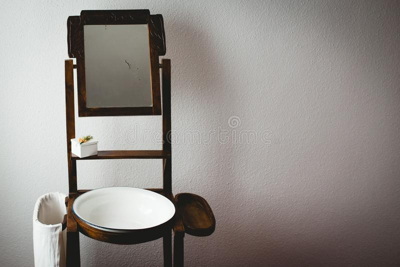 Brown Wooden Vintage Washstand royalty free stock images
