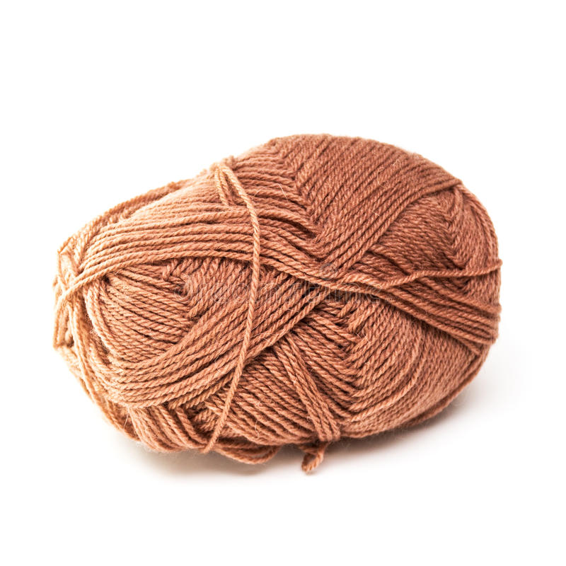 Brown wool ball of wool. stock images