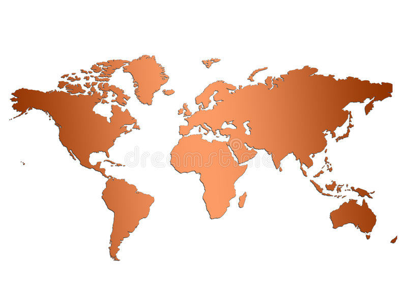 Brown World Map Stock Photography
