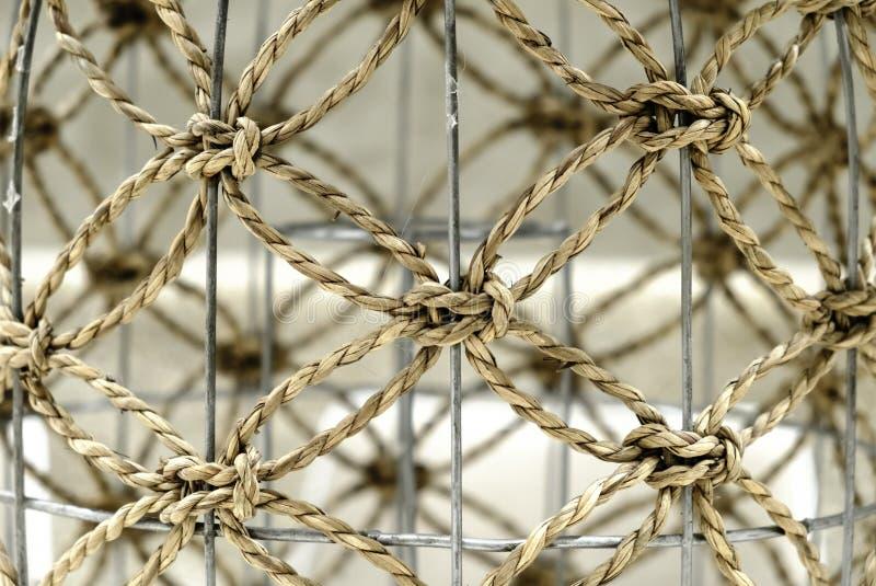 Brown Worn rope net background closeup view stock photo