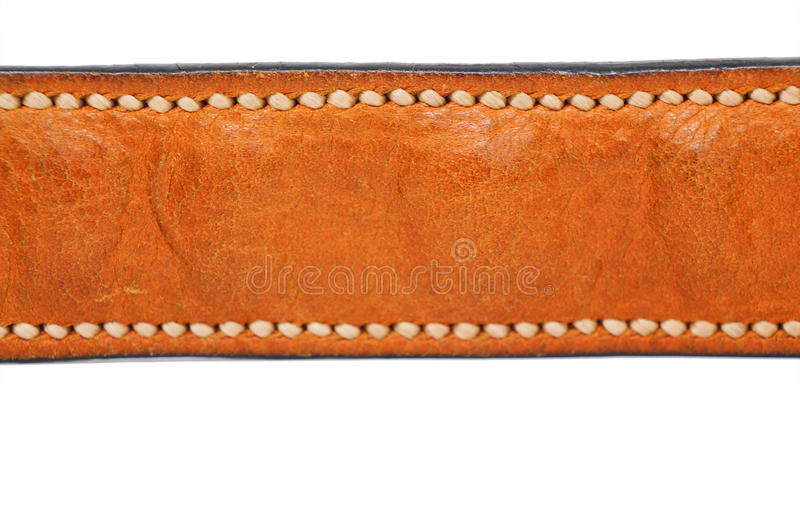 Brown wrinkle leather strap isolated on white background with handmade stitch. Brown wrinkle leather strap isolated on white background with handmade stitch stock photography