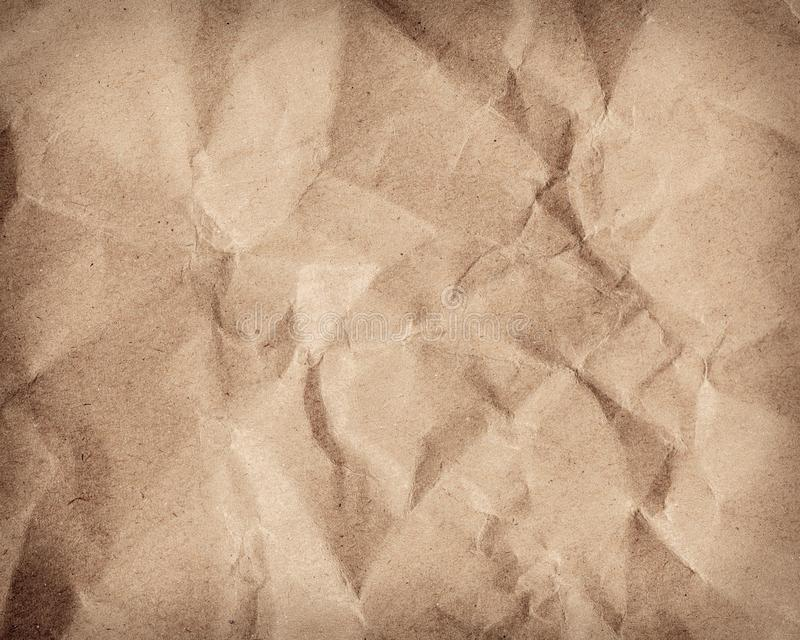 Brown wrinkle recycle paper background royalty free stock images
