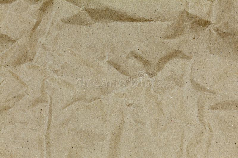 Brown wrinkle recycle paper for design and background stock photo