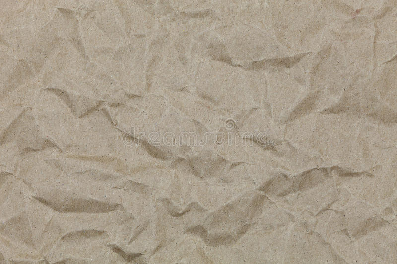 Brown wrinkle recycle paper for design and background. stock photo