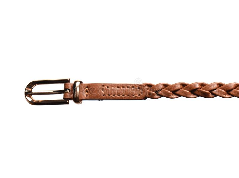 Brown wyplatający rzemienny pasek z metal klamrą odizolowywającą na białym tle Women& x27; s ubraniowi akcesoria zdjęcie stock