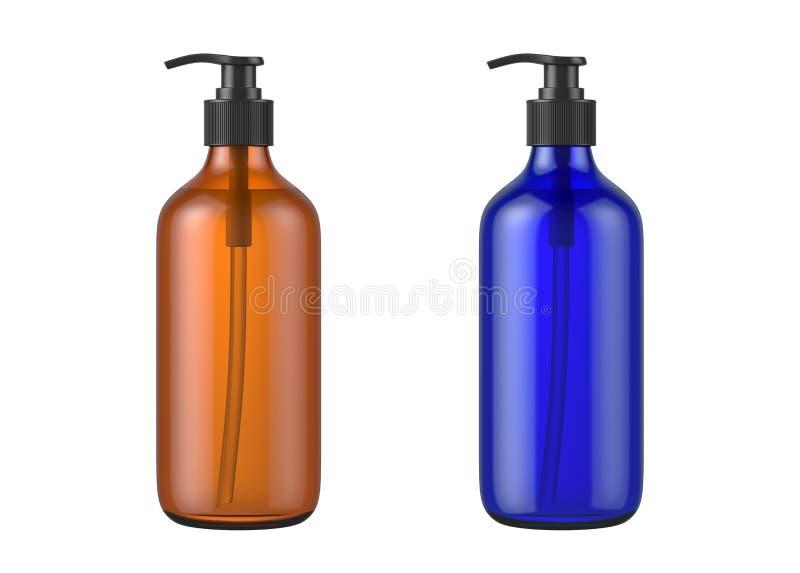 Brown y botellas cosméticas azules aislados en el fondo blanco fotografía de archivo libre de regalías