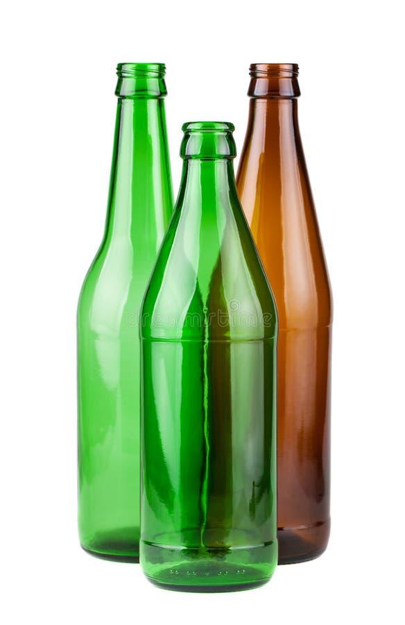 Brown y botellas vacías del verde imagen de archivo libre de regalías